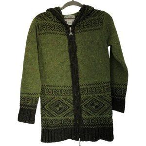 Aran Crafts Green Wool Hooded Zip Up Cardigan